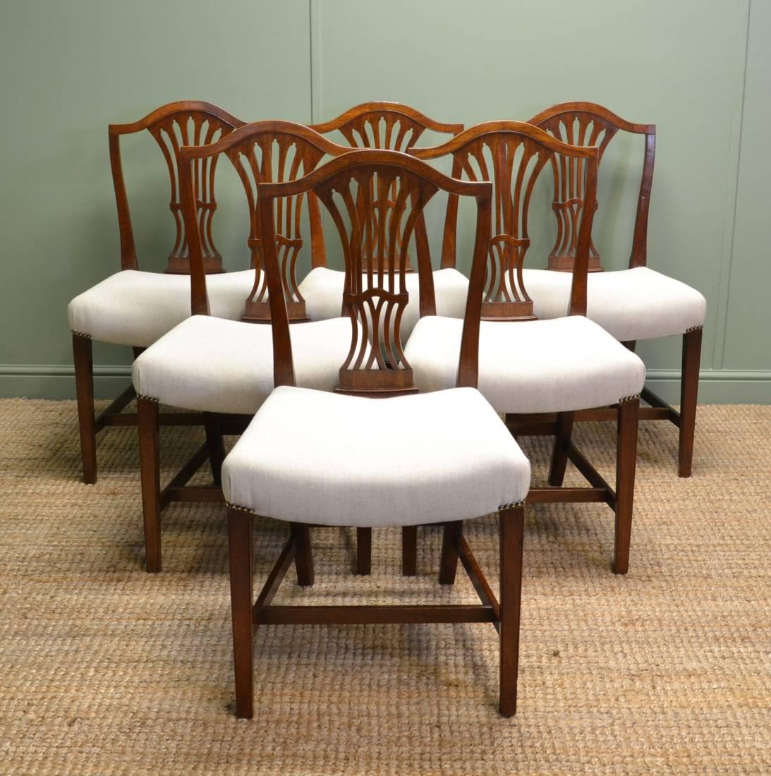 Set of Six Georgian Hepplewhite Design Antique Dining Chairs