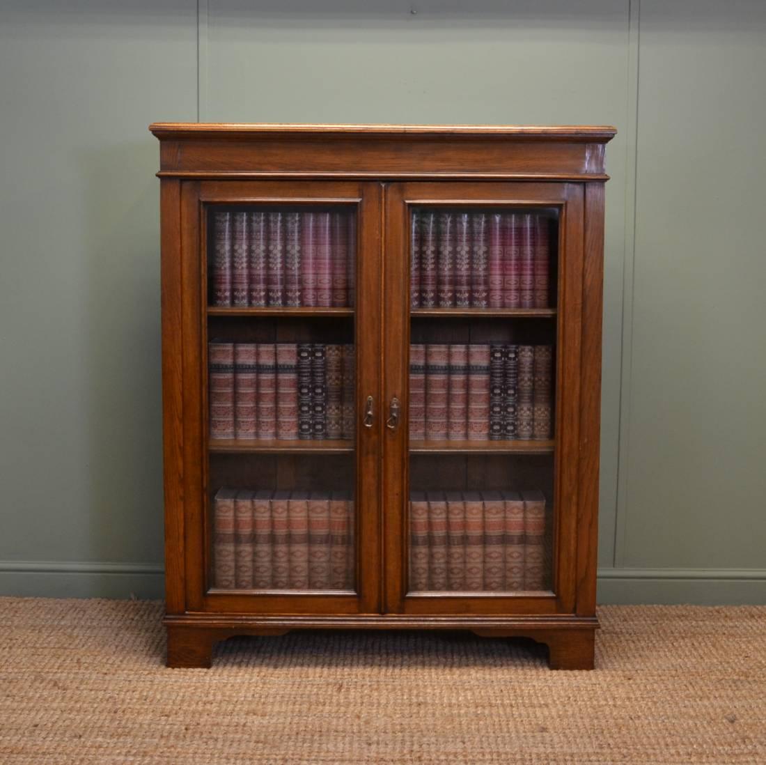 Quality Antique Victorian Oak Glazed Bookcase