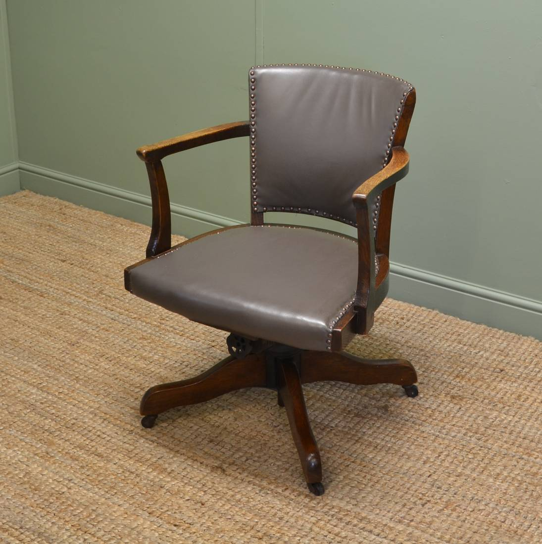 Art Deco Antique Solid Oak Swivel Desk Chair