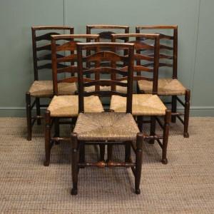 Set of Six Georgian Country Oak Harlequin Antique Ladder Back Chairs