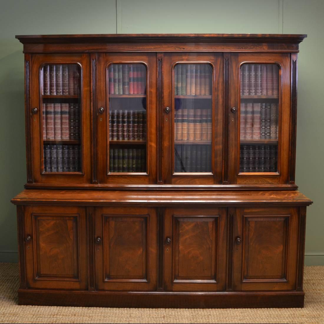 Antique Bookshelves: Spectacular Figured Rosewood Victorian Antique Library