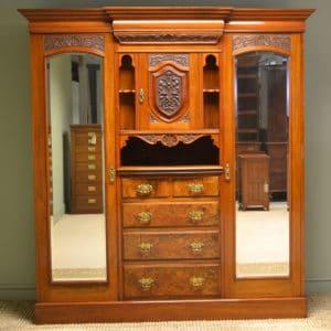Spectacular Maple & Co Figured Walnut Victorian Antique Triple Wardrobe