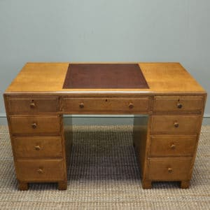 Remarkable Antique Golden Oak Art Deco Maple And Co Pedestal Desk