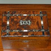 Unusual Victorian Inlaid Figured Walnut Antique Tea Caddy