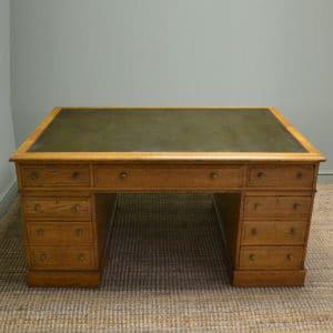 Spectacular Large Victorian Golden Oak True Antiques Partners Desk