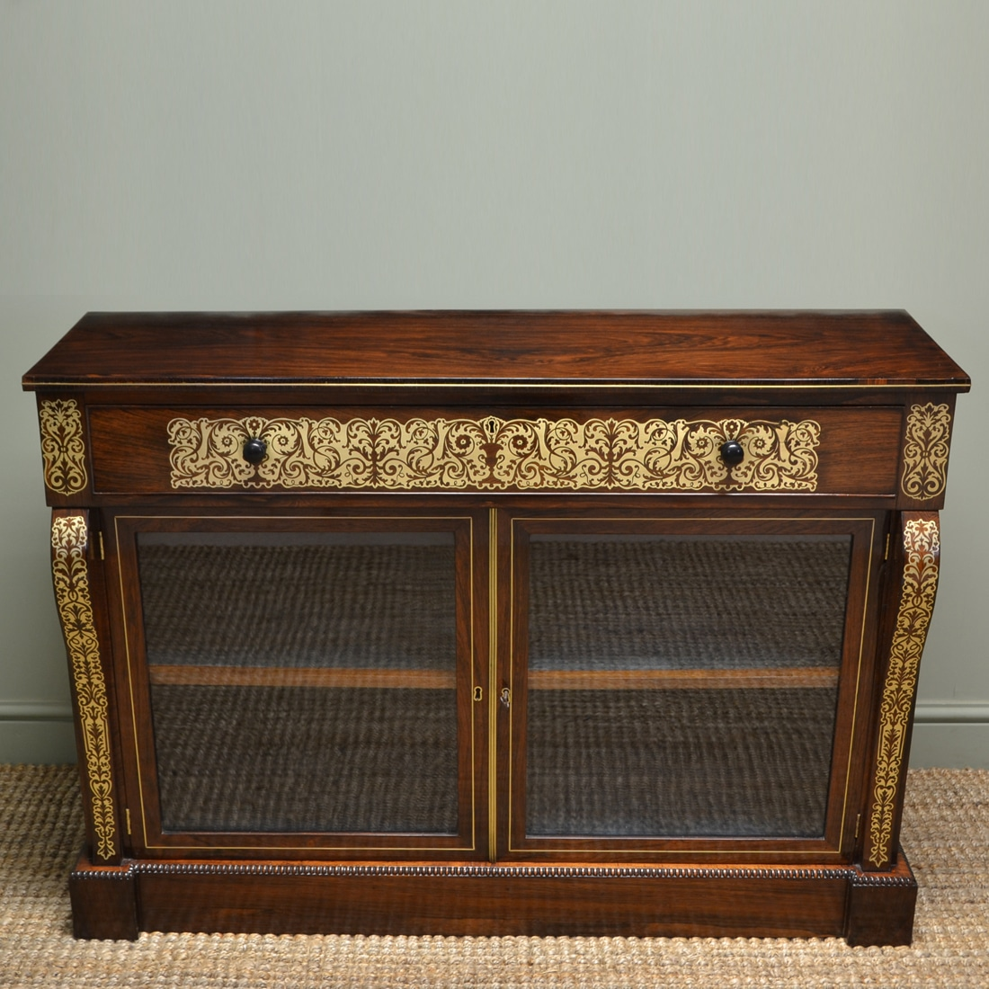 Spectacular Regency Rosewood Brass Inlaid Antique Secretaire Cabinet