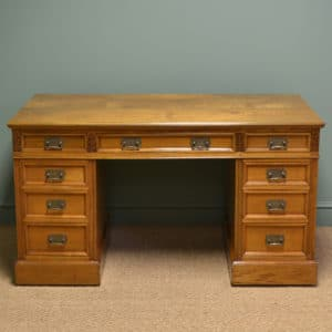 Stunning Maple And Co Victorian Ash Antique Pedestal Desk