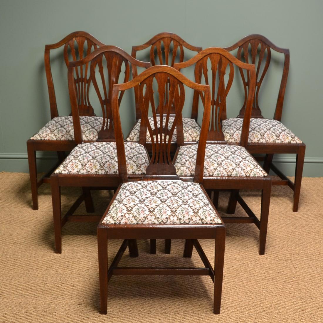 Quality Set Of Six Georgian Mahogany Antique Dining Chairs