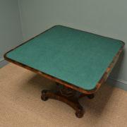 Spectacular Figured Rosewood William IV Antique Card / Games Table