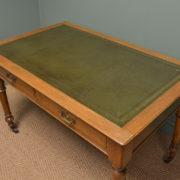 Superb Quality Victorian Golden Oak Antique Writing Table / Desk