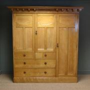Striking Large Golden Ash Victorian Arts and Crafts Antique Triple Wardrobe