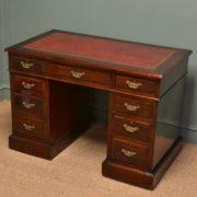 High Quality Victorian Walnut Antique Pedestal Desk