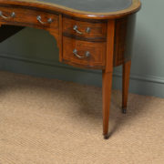 Beautiful Inlaid Victorian Mahogany Antique Kidney Shaped Writing Desk