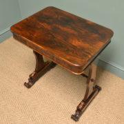 Striking Figured Rosewood Regency Antique Side / Lamp Table