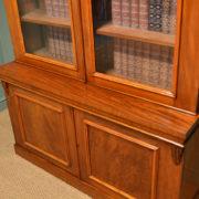 Stunning Figured Mahogany Victorian Antique Glazed Bookcase On Cupboard