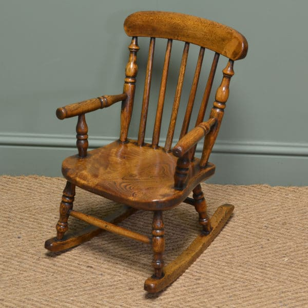 Georgian Oak and Elm Baby Windsor Rocking Chair - Antiques World