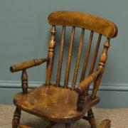 Georgian Oak and Elm Baby Windsor Rocking Chair