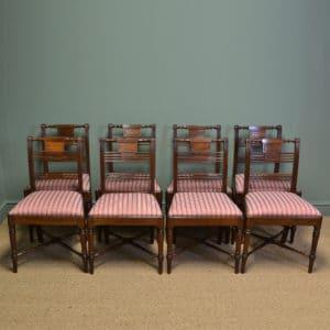 Elegant Set Of Eight Georgian Mahogany Antique Dining Chairs