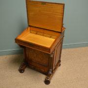 Striking Figured Walnut Antique Victorian Davenport Writing Desk