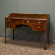 Quality Victorian Inlaid Mahogany Bow Fronted Antique Writing Table.