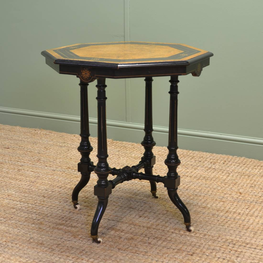 Quality Victorian Arts & Crafts Burr Walnut & Ebonised Occasional Table.