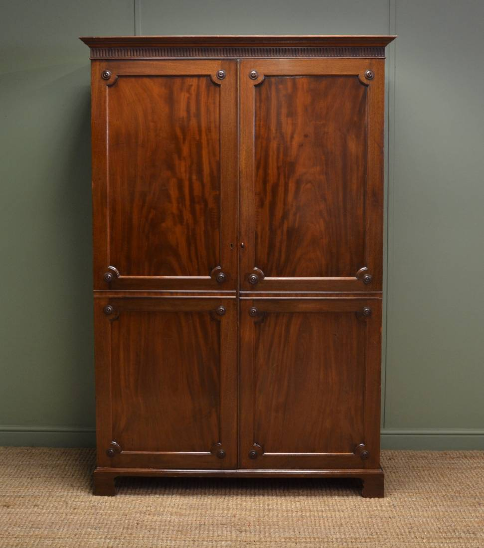 Edwardian Figured Mahogany Antique Double Wardrobe / Hall Cupboard.