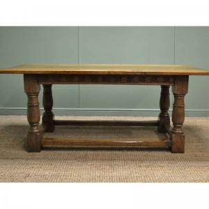 Oak Antique Refectory Table. Dating from around 1920 this solid oak refectory table is based on a medieval design. Originally used by monks in their dining hall, or Refectory, several would have been placed together to create an elongated table.