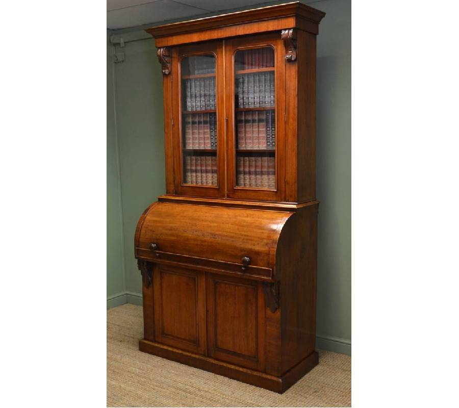 Victorian Mahogany Cylinder Fronted Antique Bookcase