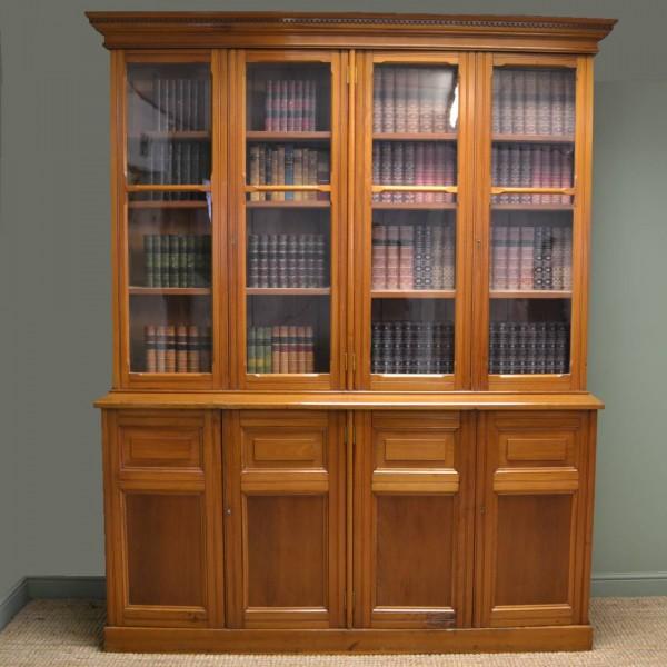 Huge Satin Walnut Antique Library Bookcase / Dresser.