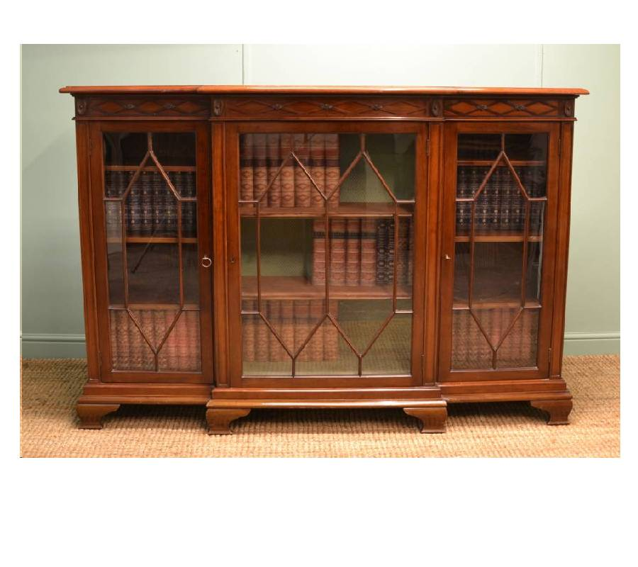Quality Edwardian Walnut Break Fronted Antique Bookcase
