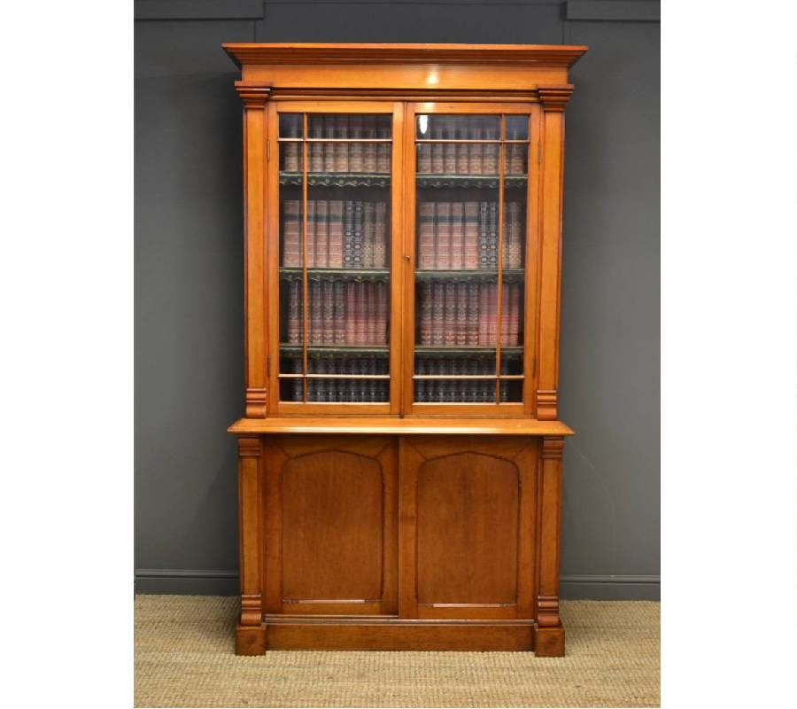 Superb Quality Walnut Arts & Crafts Antique Glazed Bookcase.