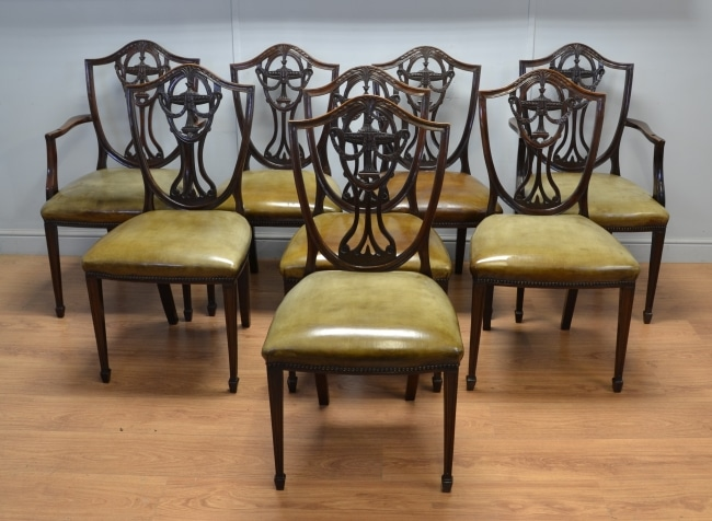 Set of Eight Antique Edwardian, Mahogany & Leather Dining Chairs.