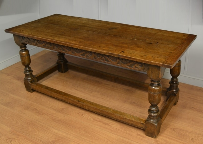 Antique Oak Victorian Refectory Table with Carved Apron.