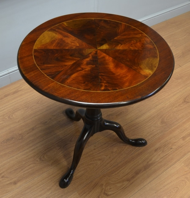 Georgian birdcage tilt top inlaid table with segmented top