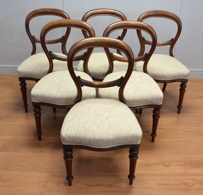 Set of Six Antique Victorian Mahogany Balloon Back Dining Chairs. - Antique  Balloon Back Chairs - Antique Balloon Back Chairs Antique Furniture