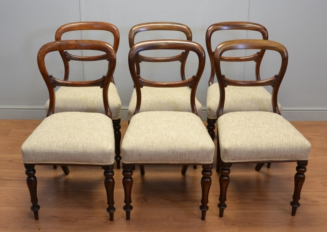 Set of Six Balloon Back Antique Dining Chairs From The Victorian Period
