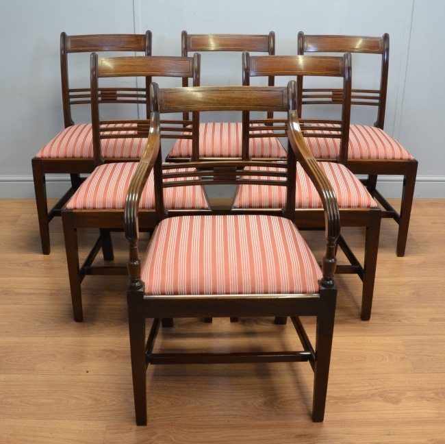 Set of Six George III Mahogany Antique Dining Chairs