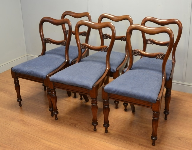 Set of Six Victorian Mahogany Antique Dining Chairs – R Brisbane.