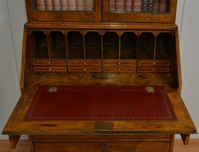 Early 18th Century Figured Walnut Antique Bureau Bookcase