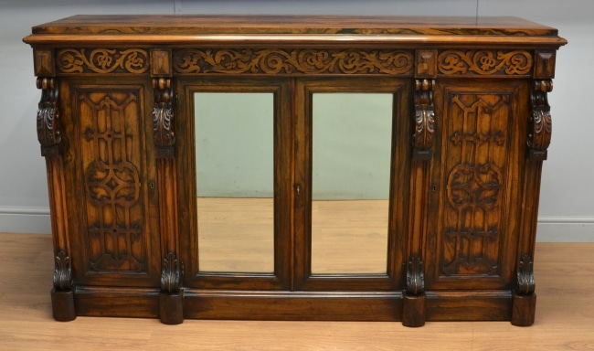 Superb Quality Rosewood Antique Sideboard with Fretwork Carving.