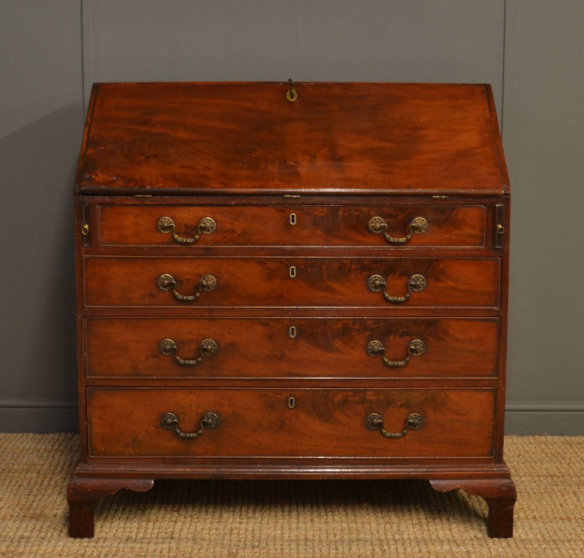 george iii mahogany antique bureau dated october 5th 1778 antiques world. Black Bedroom Furniture Sets. Home Design Ideas