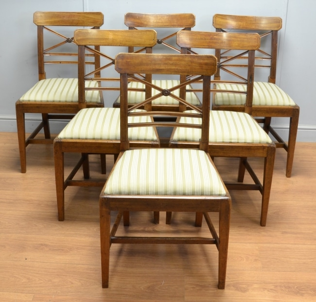 Set of Six Country Mahogany Antique Georgian Dining Chairs.