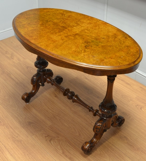 Antique Victorian Burr Walnut Oval Centre Table