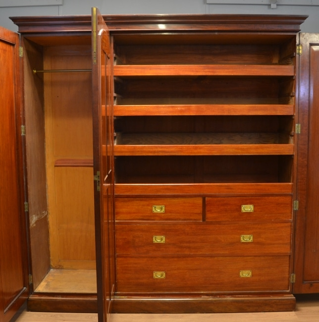 Quality Victorian Mahogany Antique Triple Wardrobe with Fitted Interior.