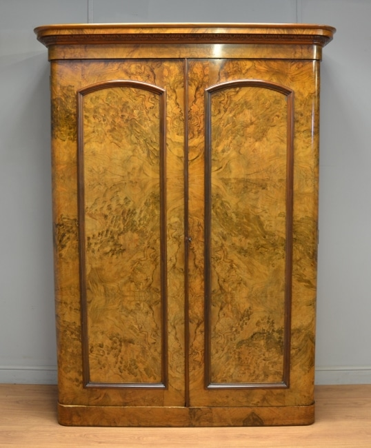 Superb Quality Burr Walnut Victorian Antique Double Wardrobe.