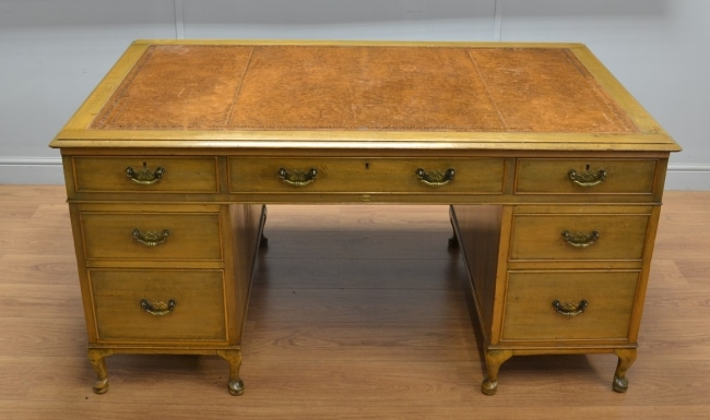Large Walnut Art Deco Antique Desk – by Simpoles of Manchester.