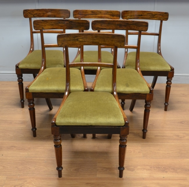 Rare Rosewood, Set of Six, Antique Regency Dining Chairs.