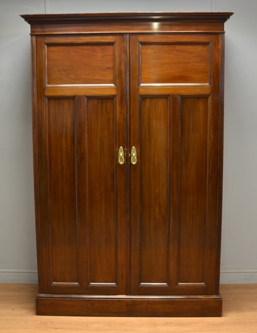 Antique Edwardian Walnut Double Wardrobe by Turner, Woodward & Co. of Manchester.