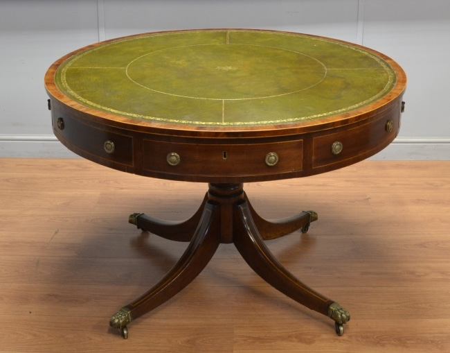 Antique Regency Mahogany Rotating Drum Table.