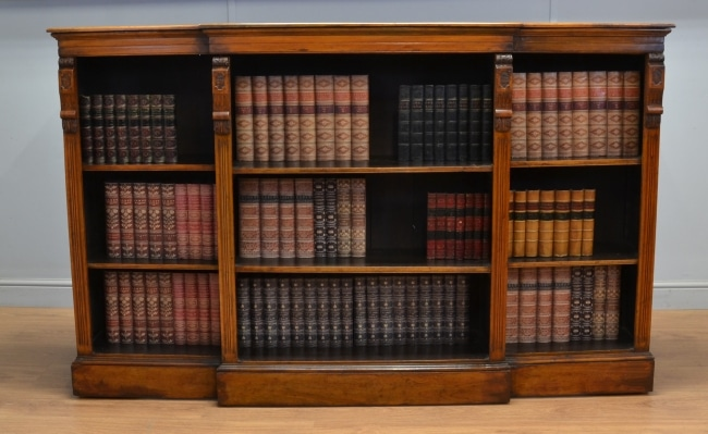 Large Victorian Walnut Break Fronted Antique Open Bookcase.